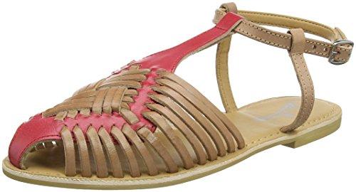 Joe Browns Cool and Casual Leather Sandals, Sandalias con Punta Cerrada Para Mujer marrón (Tan/Coral)