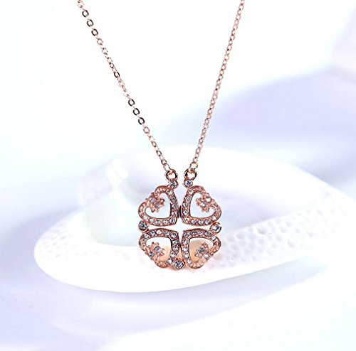 The Starry Night Creative Personality Folding Heart to Heart Unity Rose Gold Plated Lucky Necklace Austrian Crystal Dog Bone Collar