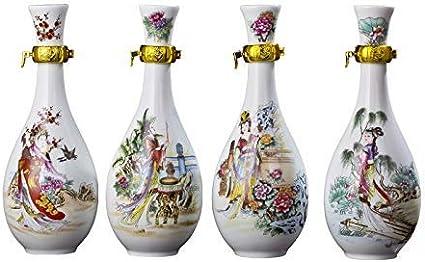Ajiuhu Botella de vino de cerámica, jarra, vino, botella de vino vacía, decoración del hogar, frasco de 500 ml (edición: juego de regalo - sin caja),Set de regalo - no bo *: