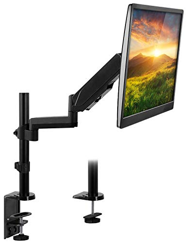 (Mount-It! Single Monitor Arm Desk Mount, Height Adjustable Full Motion VESA Riser Stand for Computer Screens 19, 20, 21, 24, 27, 29, 30, 32 Inches Clamp and Grommet Base, 17.6 Lbs Capacity)