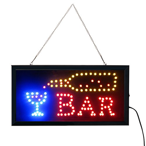 - Led Bar signs,Bar Open Sign Led Neon Light Sign Electric Display Sign 19x10inch Two Modes Flashing & Steady Light for Business