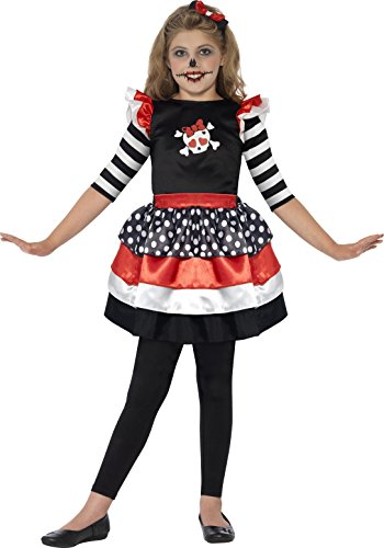 Cat Girl Costume Child Uk (Smiffy's Toddler's Skully Girl Costume, Dress and Headband, Color: Black, Red and White, Ages 3-4, Size: Medium, 44288)