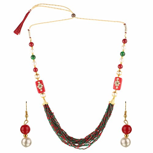 Designer Jewelry Handcrafted - Efulgenz Indian Handcrafted Traditional Designer Simulated Pearl Beaded Multi Stranded Necklace with Dangler Earrings Bollywood Jewelry Sets for Women and Girls