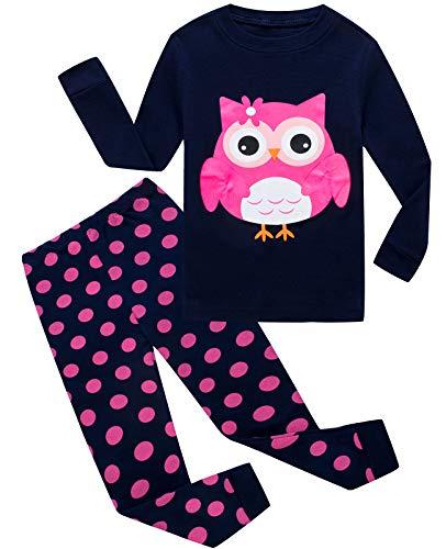 Little Girls Pajamas Owl 100% Cotton Long Sleeve Pjs Toddler Clothes Kids Sleepwear Pjs -