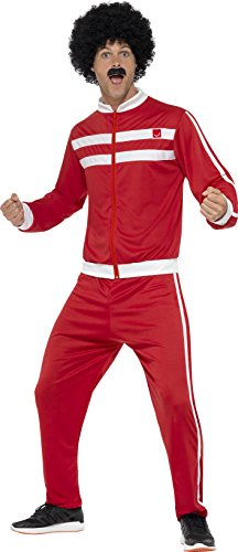 80s Fancy Dress Mens Costumes (Scouser Tracksuit Mens Fancy Dress 1980s Retro Sports 80s Adult Costume Outfit)