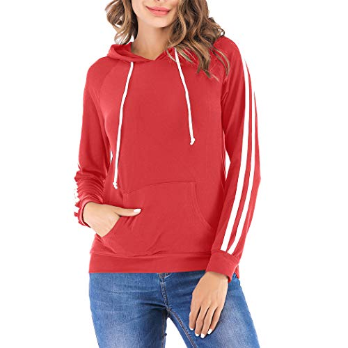 Eanklosco Basic Hoodie Womens Casual Long Sleeve Pullover Lightweight Drawstring Hooded Sweatshirt with Kangaroo Pocket (2XL, Red)