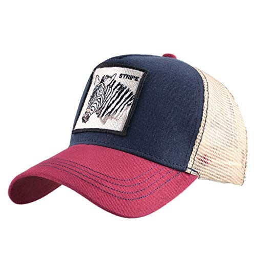 Unisex Animal Mesh Trucker Hat Strapback Square Patch Baseball Caps (One Size, Red Blue Zebra)