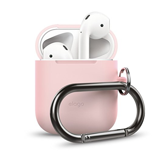 elago AirPods Hang Case [Lovely Pink] - [Extra Protection] [Hassle Free][Added Carabiner] - for AirPods Case