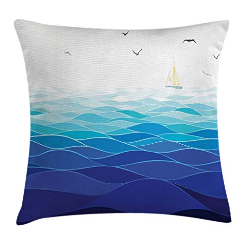 (Aqua Throw Pillow Cushion Cover by Ambesonne, Graphic Ocean Waves Sailboat with Birds Seagulls Seascape Horizon Maritime, Decorative Square Accent Pillow Case, 16 X 16 Inches, Navy Blue Aqua White)