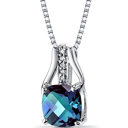 Revoni Bague en or blanc 14carats Diamant Alexandrite Pendentif Coussin Damier Coupe 2,5Cts Total