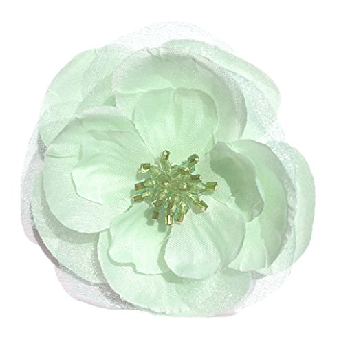 Cuteque International Sophisticated Wedding Flower with Crown Jewels Designs Hand Stitched in Center, 3-Inch, Mint Aqua, 6-Pack