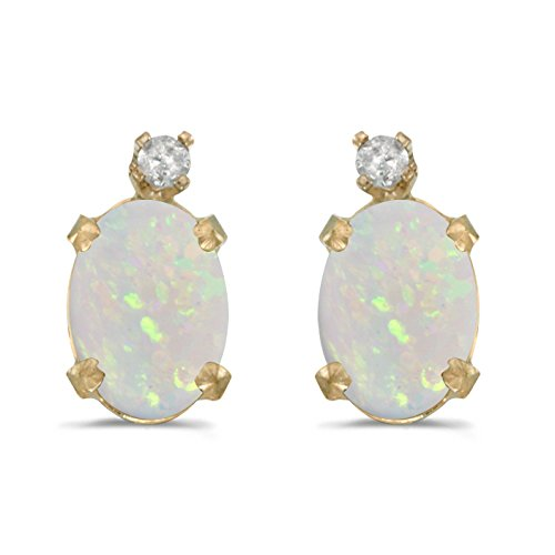 FB Jewels Solid 14k Yellow Gold Studs Genuine Birthstone Oval Opal And Diamond Earrings (1/2 ()