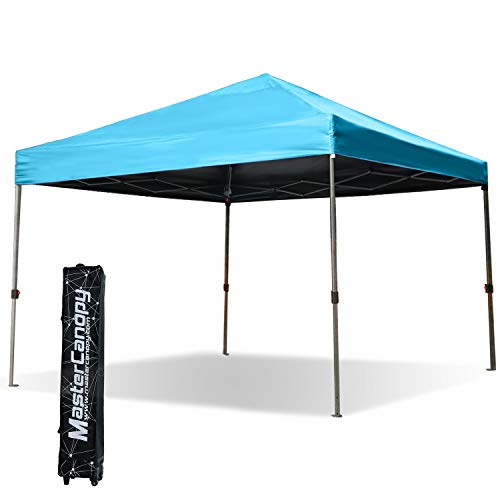 MASTERCANOPY Commercial Canopy Easy to Set 10'x10′ Instant Pop-up Portable Folding Canopy W/Wheeled Roller Bag (Sky Blue)