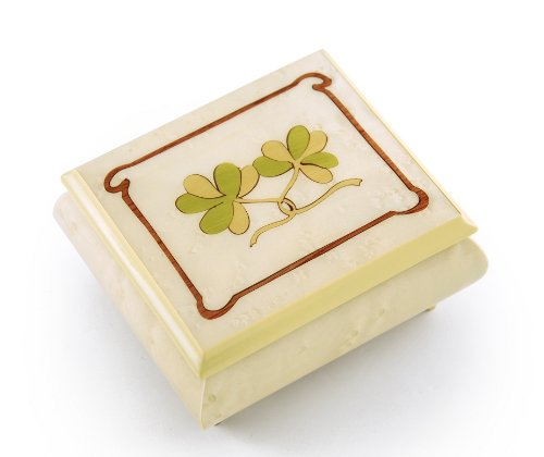 Astonishing Hand Inlay Of An Irish Celtic Shamrock Sorrento Musical Box, Music Selection - Rock of Ages - Christian Version by MusicBoxAttic