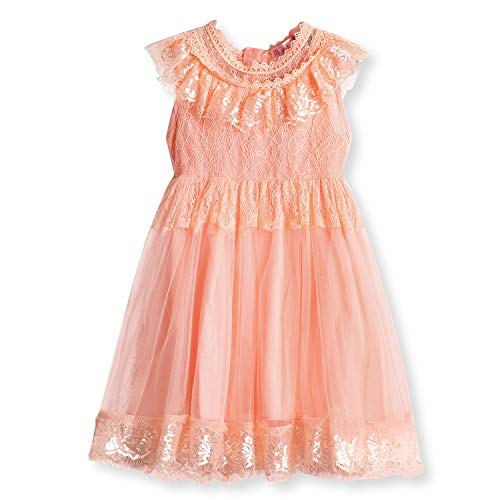 NNJXD Flower Girl's Wedding Dress Lace Sleeveless Tulle Summer Vintage Dresses 6-7 Years Size (150) Pink 2