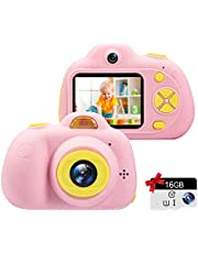 "Kids Camera Gifts for 3-9 Year Old Girls,1080P HD Mini Rechargeable Children Shockproof Digital Front and Rear Selfie Camera Child Camcorder Waterproof 2.0"" LCD Screen (Pink)"