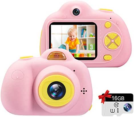 """Kids Camera Gifts for Girls 1080P HD,Mini Rechargeable Children Shockproof Digital Front and Rear Selfie Camera Child Camcorder for 3-9 Year Old Kids Gifts waterproof 2.0"""" LCD Screen (Pink)"""