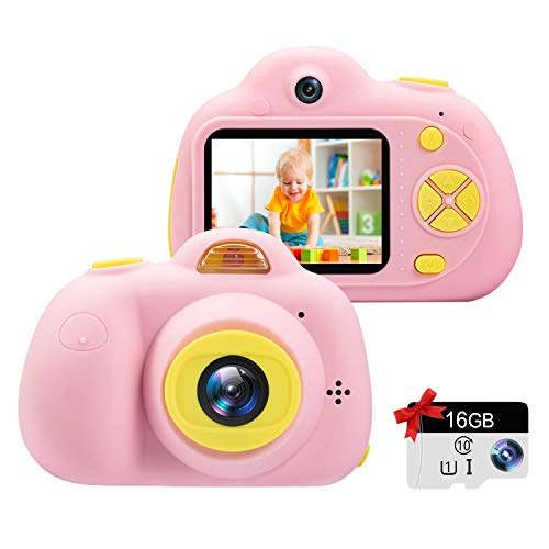 Kids Camera Gifts for Girls 1080P HD,Mini Rechargeable Children Shockproof Digital Front and Rear Selfie Camera Child Camcorder for 3-9 Year Old Kids Gifts waterproof 2.0
