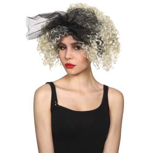 Material Girl Costume Madonna (Womens 80's Material Girl Blonde Hair Madonna Popstar Wig - Wicked Costumes)