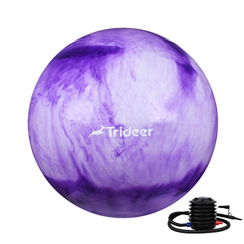 Trideer Exercise Ball (45-85cm) Extra Thick Yoga Ball Chair, Anti-Burst Heavy Duty Stability Ball Supports 2200lbs, Birthing Ball with Quick Pump (Office & Home & Gym) (Purple&White, 55cm) by Trideer