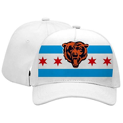 (Adult Unisex Chicago Bears Flag Adjustable Sandwich Baseball Caps for Men's, Women's)