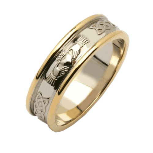 Mens Claddagh Wedding Band Sterling Silver & 14k Yellow Gold Size 13