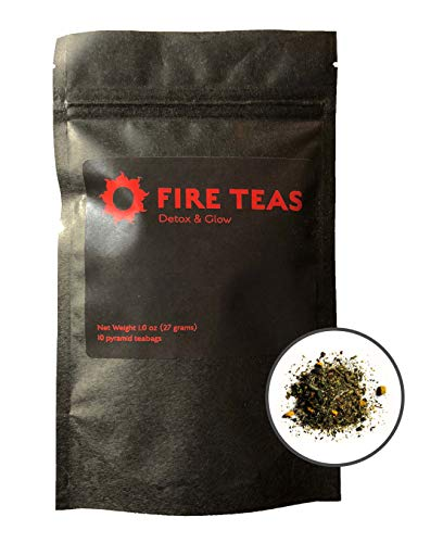 FIRE TEAS Detox & Glow - Turmeric, White Tea, Saffron, Cardamom,Ginger, Cinnamon in Premium Biodegradable Pyramid Tea bags - Helps Weight Loss, Skin Aging, Inflammation - All Natural