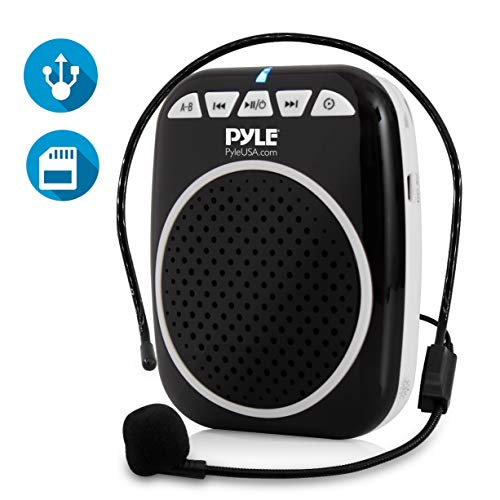 Pyle Compact Voice Amplifier - Portable Waistband PA Speaker with Headset Microphone, Rechargeable Battery, MP3/USB/SD Readers (PWMA55) ()