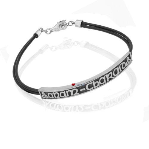 Celtic amour unisexe bracelet argenté bracelet en cuir