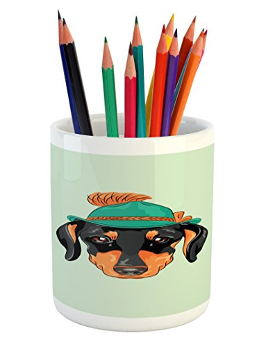 (Ambesonne Dachshund Pencil Pen Holder, Hipster Pure Breed Dog Silhouette in a Green Tyrolean Hat Cute Dachshund Puppy, Printed Ceramic Pencil Pen Holder for Desk Office Accessory, Multicolor)