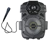 Milanix Tailgate Portable Bluetooth PA Karaoke Disco Light Party Speaker with Microphone, SD, MP3, FM, USB, and USB Charging Port