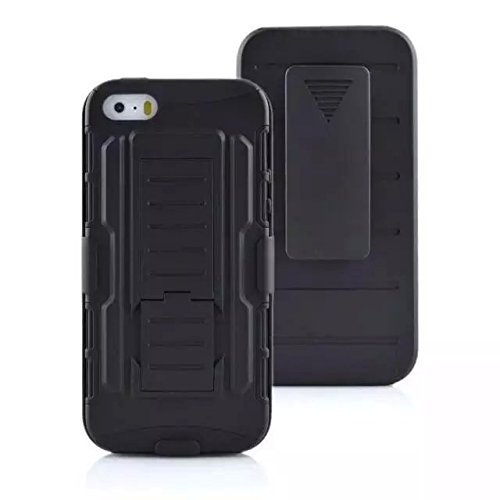 iPhone SE Custodia, SsHhUu Hybrid Heavy Duty Antiurto Dual Layer Rugged Duro PC+Morbido Gomma Silicone with Protettivo Armor Belt Clip Case Cover per Apple iPhone 5/5s/SE (4.0) Nero