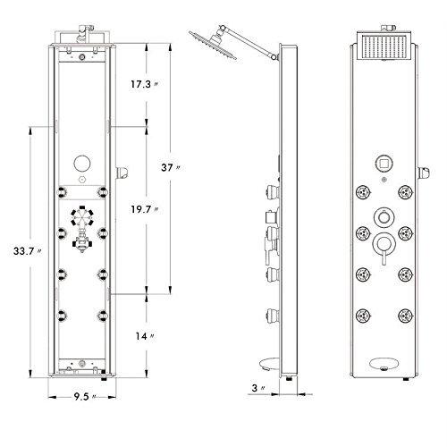 AKDY 787392B 52 Tempered Glass Aluminum Rain Style Massage System Shower Panel