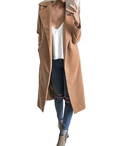 Blend Trench (Romacci Women's Lapel Wool Blend Longline Winter Fall Warm Coat Overcoat)