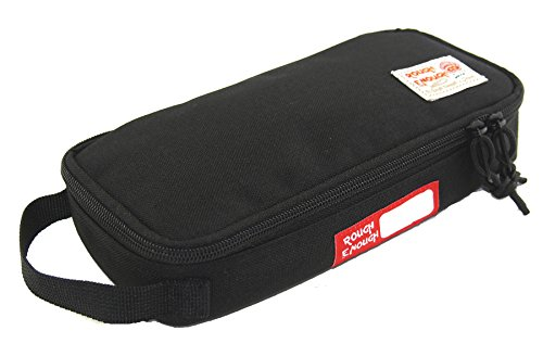 Rough Enough Multi-Function CORDURA Soft Polyester Portable Fashion Large Pencil Case Tools Pouch Holder Organizer Storage Bag for Kits Accessories Stationary Kids Boys Students Sports Outdoors Black