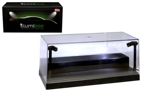 Illumibox ILLUMI10001 USB Powered Plastic Collectible Display Show Case Black 1/24 Scale with Riser Option to Display 1/64 Scale Diecast Models with L.E.D. Lights