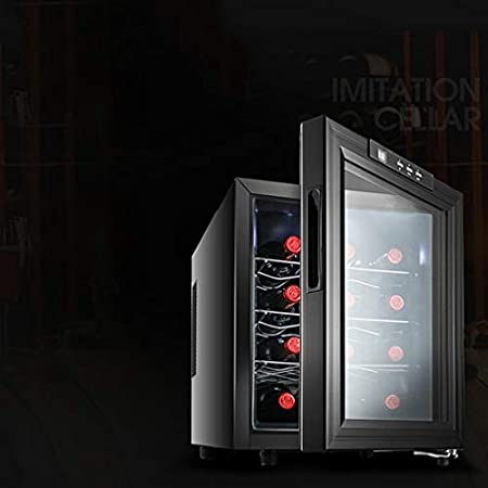 MYYINGELE Minibar Refrigerador para Bebidas Nevera para vinos para 12 Botellas Estándar de Vino Silencioso Temperatura 10° - 18° C Metal Negro Display Digital Silencioso