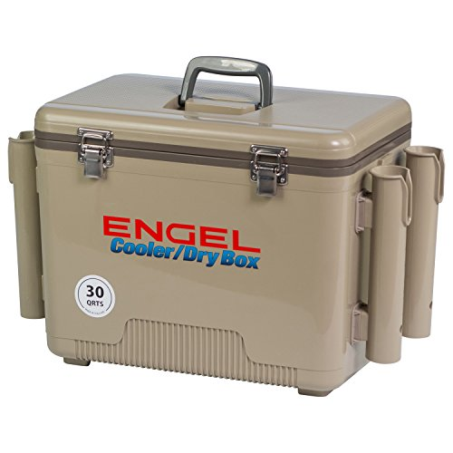 Engel Cooler/Dry Box 30 Qt with Rod Holders - Tan