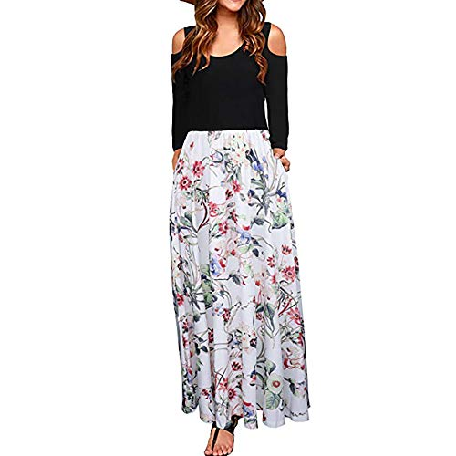 ANJUNIE Women's African Floral Print A Line Long Skirt Pockets Two Pieces Maxi Dress(White,XL) -
