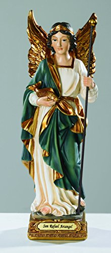 ArchAngel Saint Rafael Raphael Statue 8 Patron Saint of Physicians. Hand Painted. Milagros – VG010