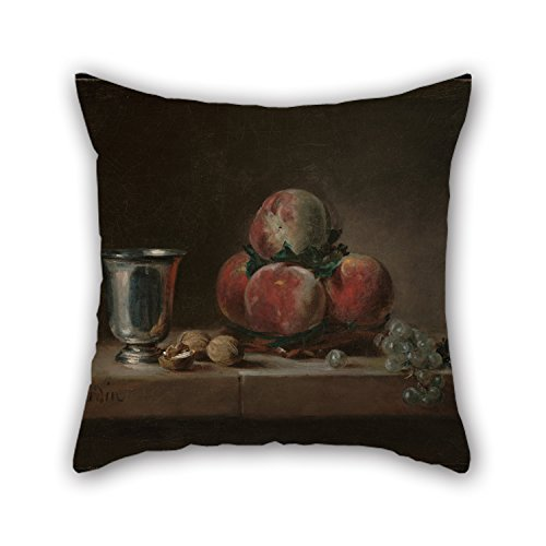 Alphadecor 16 X 16 Inches / 40 By 40 Cm Oil Painting Jean-Siméon Chardin (French - Still Life With Peaches, A Silver Goblet, Grapes, And Walnuts Pillowcase ,two Sides Ornament And Gift To Teens Boy