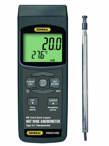 General Tools HWA4214SD Digital Hot Wire Anemometer, with Data Logging SD Card by General Tools