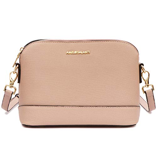 Crossbody Bags for Women, Lightweight Medium Dome Purses and Handbags with Adjustable Strap and Golden Hardwares (T pink) (Mall Golden)