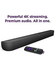 "$179 » Roku Smart Soundbar with built-in 4K Streaming Media Player, Black, 2.8"" H x 32.2"" W x 3.9"" D"