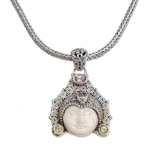 NOVICA Multi-Gemstone Peridot .925 Sterling Silver Bone Pendant Necklace, 19.75