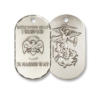 Sterling Silver National Guard Pendant Military Medal 3//4 Inch