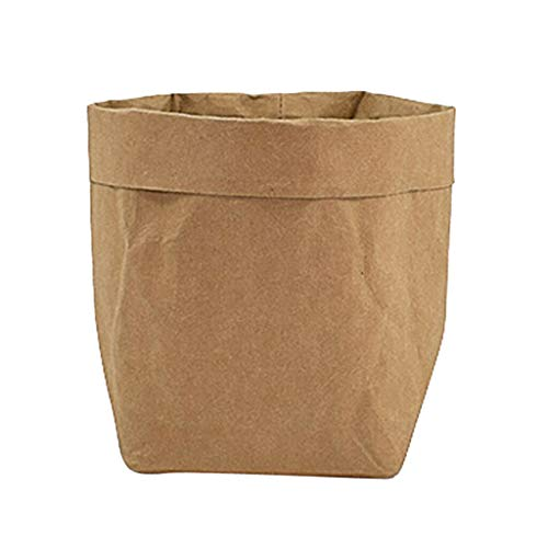 [해외]NATFUR Washable Kraft Paper Bags Reusable Home Storage Container Unique Flowerpot | Size - Yellow S / NATFUR Washable Kraft Paper Bags Reusable Home Storage Container Unique Flowerpot | Size - Yellow S