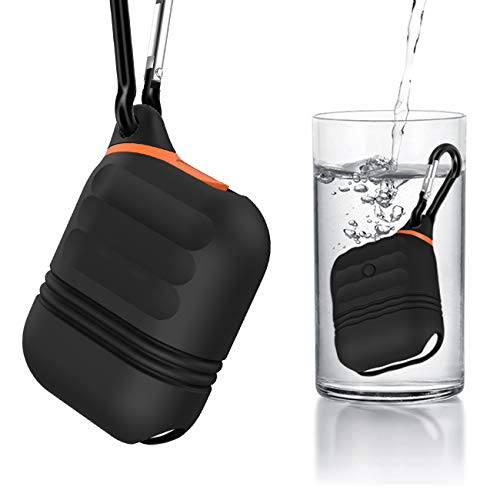 MICOK Compatible Airpods Case, Waterproof Airpods Cover, Shock Resistant Silicone Airpods Case Cover Skin Keychain Compatible Airpods, Airpods Accesssories (Black)
