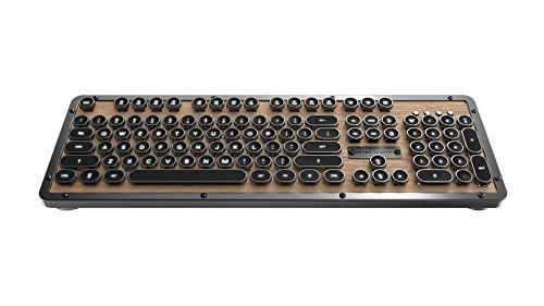Azio Retro Classic Bluetooth Elwood - Luxury Vintage Backlit Mechanical Keyboard, Brown/Grey (MK-RETRO-W-BT-01-US) by Azio (Image #1)
