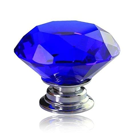 10 PCS Blue 40mm Flat Round Crystal Glass Cabinet Door Knobs Cupboard Drawer Cabinet Furniture Kitchen Wardrobe Dresser Diamond Cut Pull Handle